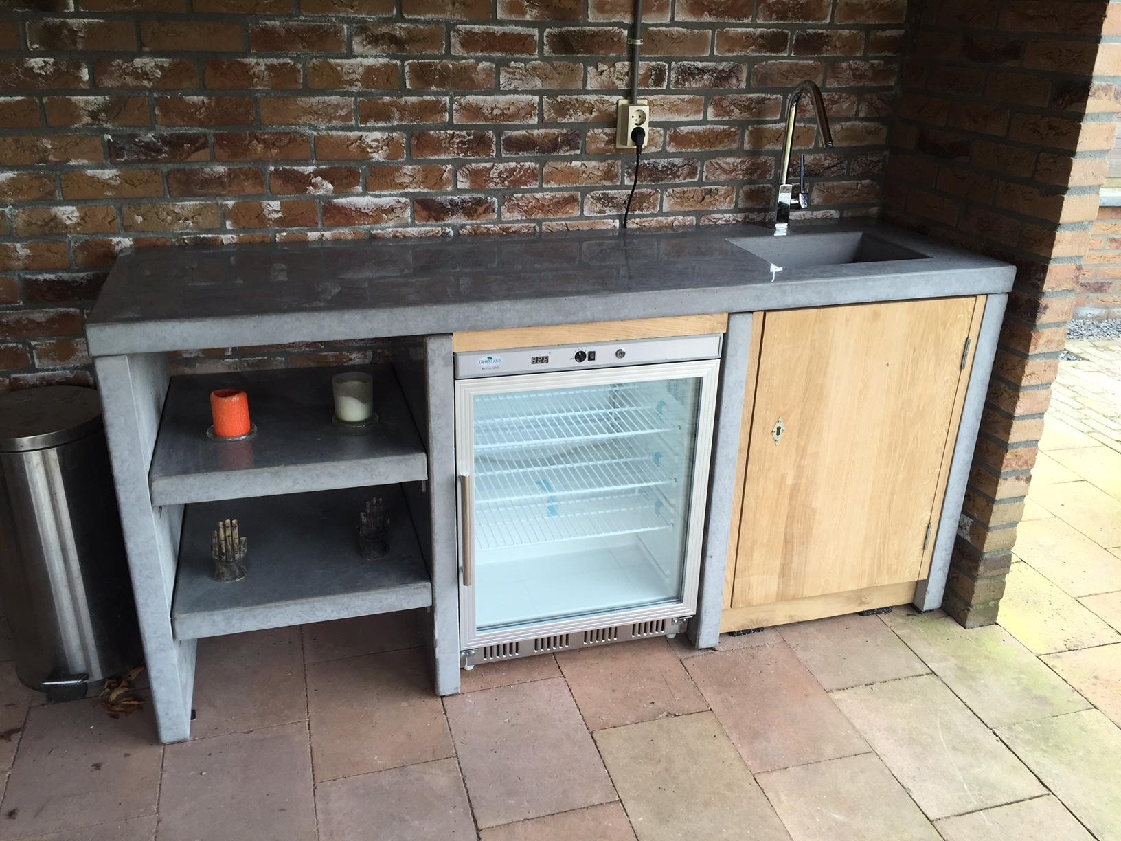 Buitenkeuken Koelkastspoelbak Betoneiken Kast Keuken